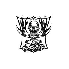 my lovely bike auto grunge crest with skull in helmet