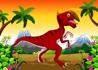 Photo sur Plexiglas Dinosaurs Dinosaur Parasaurolophus cartoon for your design