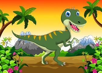 Cute dinosaur cartoon for your design