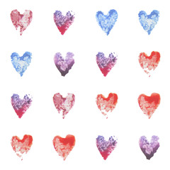 Set of vector watercolor hearts. Seamless pattern