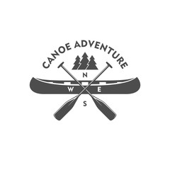 Canoe adventure. Badge, design element.