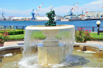 Water fountain in the port of the park