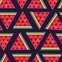 seamless vector geometric pattern with slices of watermelon