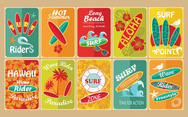 Set of retro surfing typographical posters for your design.