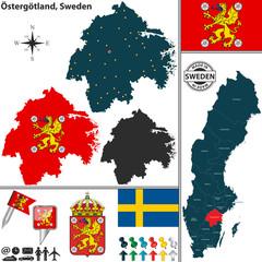 Map of Ostergotland, Sweden
