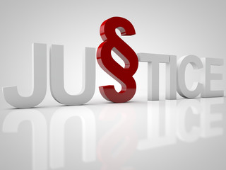 Justice - 3D Text over white Background