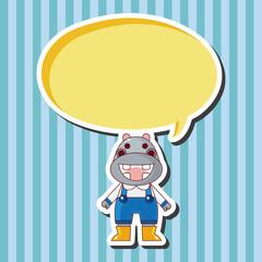 animal hippo winter cartoon theme elements