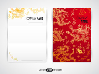Vector modern flyer, brochure design template with asia dragon b