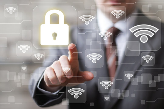 Social network WiFi businessman presses button security lock icon