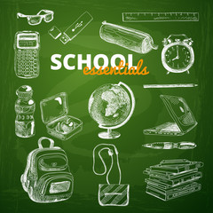 Vector set of school items on a chalkboard.