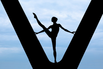 Silhouette of a graceful ballerina