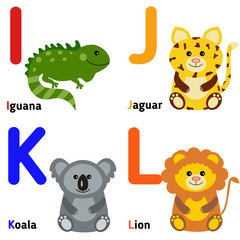 Cute zoo alphabet in vector. I, j, k, l