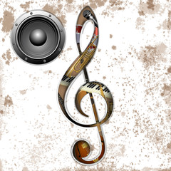 vector illustration of musical instruments in the hole treble Clef trumpet, saxophone, piano keys, jazz guitar, acoustic guitar and an audio speaker