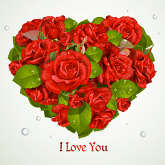 Heart fromf red roses Valentine`s day card