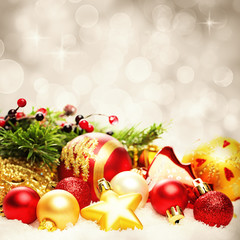 Christmas Decoration Border on Twinkled Snow Bokeh Background fo