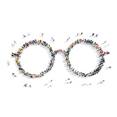people in the shape of glasses