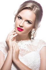 Beautiful woman in  wedding dress,  image of the bride. Beauty