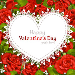 Happy Valentine's Day card  on red roses background