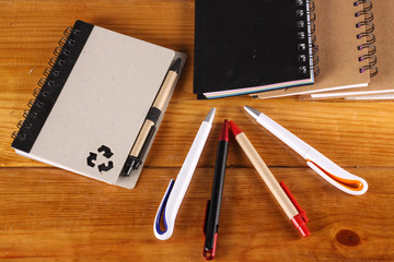 stationaries isolated on wooden background