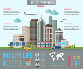 Big city life infographics with road, tall buildings