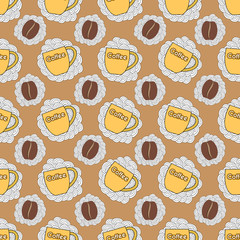 seamless pattern with cup and coffee bean
