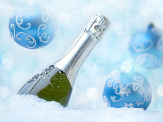 Christmas champagne on snow