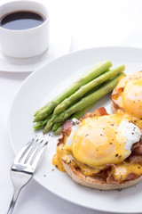 eggs benedict, on the white background