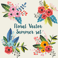 Vector floral bouquet invitation set
