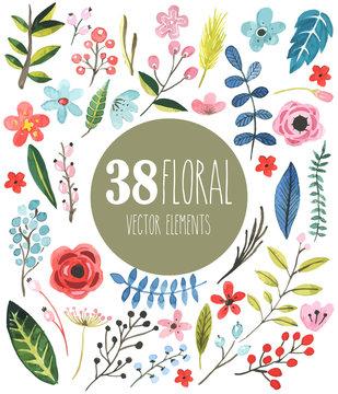 38 floral vector watercolor elements