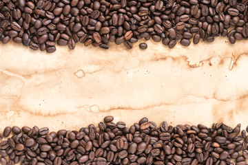 coffee beans stripes on old paper background