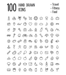 Large set of 100 multi-purpose icons for web or apps: travel, sport, health, food and more. Clean and minimalistic, but with a personal hand drawn feel. Thin line icons isolated on white.