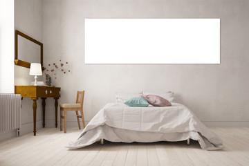 Leinwand als Panorama an Wand im Schlafzimmer