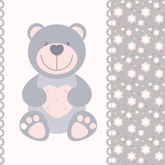 vector banner with teddy bear