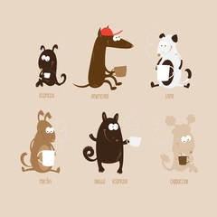 Set with cute cartoon dogs of different breeds who drink different types of coffee.