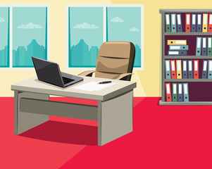 Vacancy. Looking for a new employee. Empty office with a laptop, work desks and filing cabinets. - vector simple illustration.