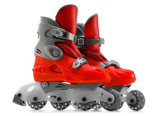 A pair of red inline skates isolated on white background