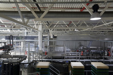 Industrial equipment in the units of the plant for the production of beer