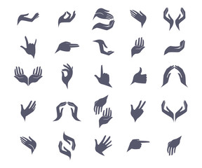 Set of open empty flat hands icons with different gestures signs