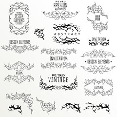 Set of calligraphic and floral