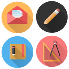 Universal Flat icon set for Web and Mobile App. School.