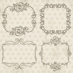 Calligraphy decorative borders with roses,  vector