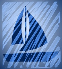 Abstract background with sailing boat motif
