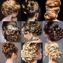 Papiers peints Salon de coiffure Collection of wedding hairstyles. Beautiful girls. Beauty hair.