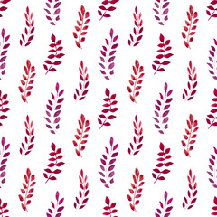 Seamless pattern with watercolor red leaves