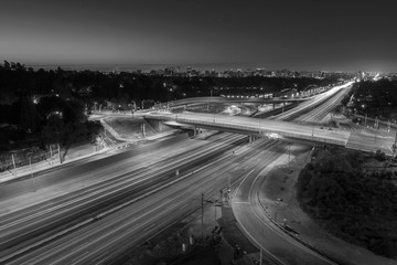 San Diego 405 Freeway Los Angeles Black and White