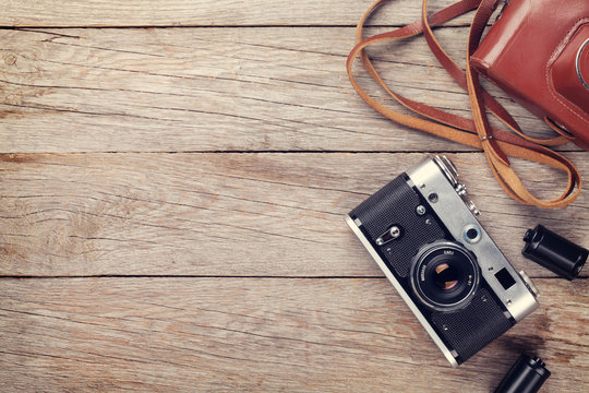 Vintage film camera with case