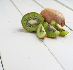 Two sliced kiwifruits composition