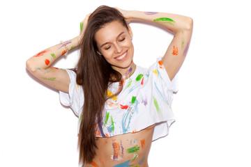 beautiful fashion girl woman color skin long hair