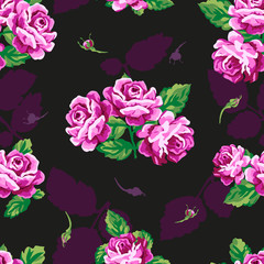 Beautiful floral seamless pattern . Vintage rose pattern
