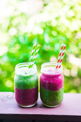 Two layer colorful smoothies